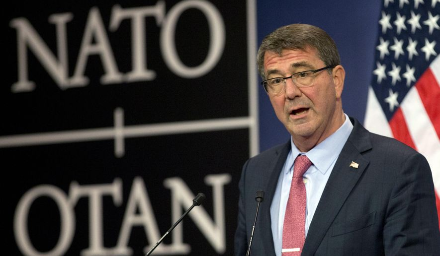U.S. Secretary of Defense Ash Carter speaks during a media conference after a meeting of NATO defense ministers at NATO headquarters in Brussels on Thursday, Oct. 8, 2015. NATO defense ministers met Thursday to consider the implications of recent Russian military actions in Syria, as well as ongoing measures to retool NATO to meet contemporary security threats. (AP Photo/Virginia Mayo)
