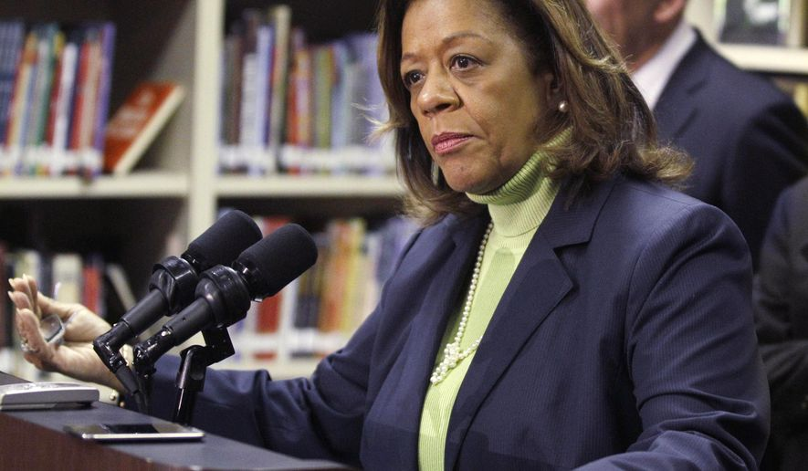 FILE - In this Oct. 12, 2012 file photo, Chicago Public Schools CEO Barbara Byrd-Bennett speaks at a news conference in Chicago. The former CEO has been indicted on corruption charges following a federal investigation into a $20 million no-bid contract. Bennett was indicted Thursday, Oct. 8, 2015, nearly four months after she resigned amid an investigation into the contract between the district and SUPES Academy, a training academy where she once worked as a consultant. (AP Photo/M. Spencer Green, File)