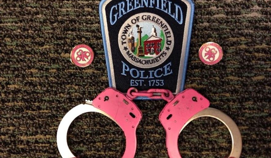 Police officers in Greenfield, Massachusetts have started arresting suspects with pink handcuffs in honor of National Breast Cancer Awareness Month. (Facebook/@Greenfield, Mass Police Department)