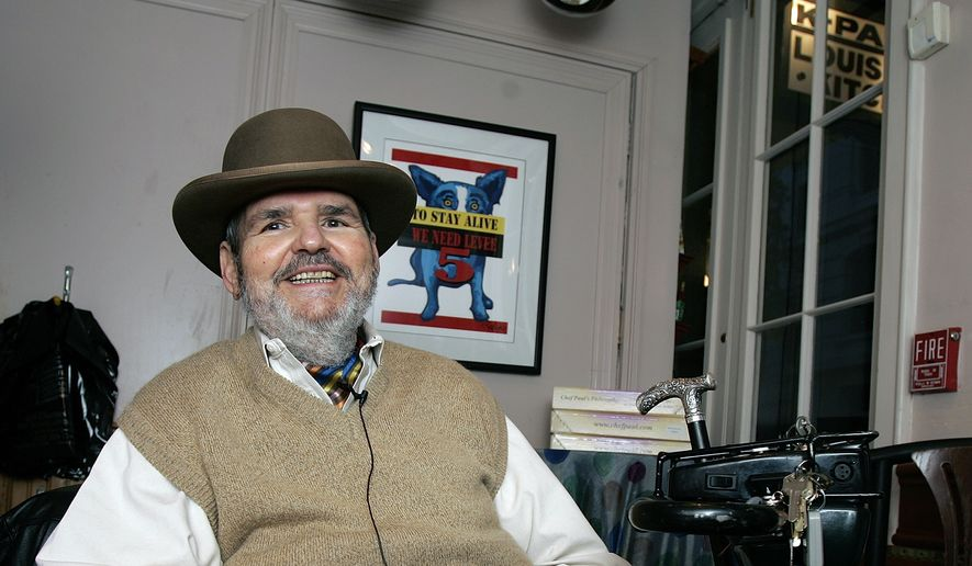 Chef Paul Prudhomme gestures during an interview at his French Quarter restaurant, K-Paul's Louisiana Kitchen, in New Orleans, in this Friday, Feb. 2, 2007, file photo. He died Thursday, Oct. 7, 2015, at age 75. (AP Photo/Bill Haber, File)