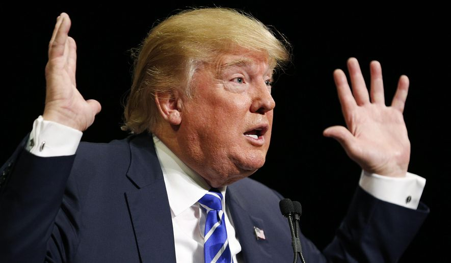 Republican presidential candidate Donald Trump speaks at a rally Thursday, Oct. 8, 2015, in Las Vegas. Trump spoke at the Treasure Island hotel and casino on the Strip. (AP Photo/John Locher) ** FILE **
