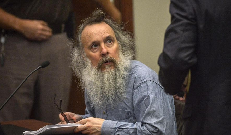 Charles Severance listens to his attorney during a pretrial hearing for his upcoming murder trial, in Fairfax, Va., on Aug., 13, 2015. Opening statements began Thursday, Oct. 8, 2015, in the trial of Severance, 55, of Ashburn. He is accused of killing three prominent Alexandria residents in their homes: Nancy Dunning, wife of then-Sheriff James Dunning, in 2003; transportation planner Ron Kirby in 2013; and music teacher Ruthanne Lodato in 2014. (Bill O'Leary/The Washington Post via Associated Press) **FILE**