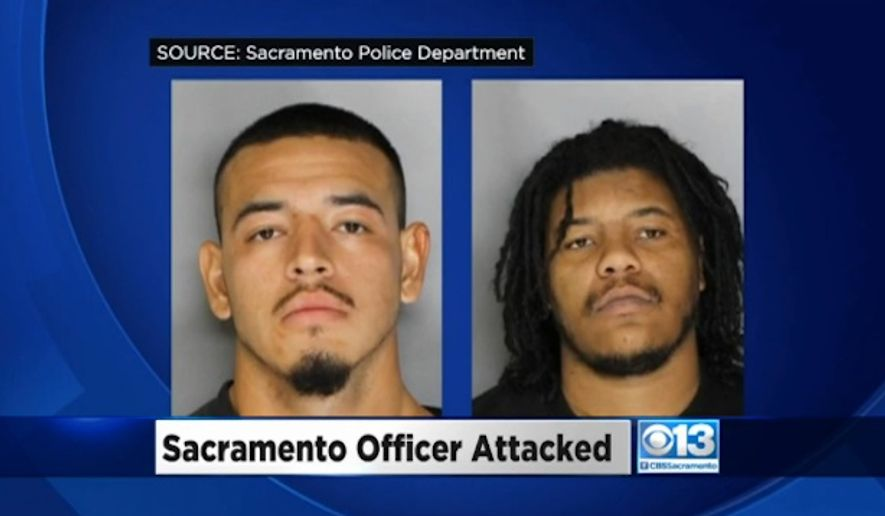 A Sacramento, California, police officer is recovering after investigators say he was ambushed by two men who targeted him because of his profession. Juan Gomez, 21, left, is facing a number of felony charges after he allegedly ambushed and brutally beat the officer in a hospital parking lot Monday morning. Jamaral Lee, 35, right, recorded the attack and encouraged Mr. Gomez in the beating, police said. (Sacramento Police Department via CBS13)