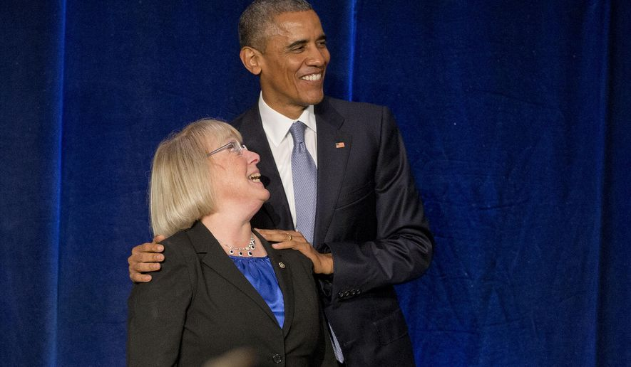 President Barack Obama with Sen. Patty Murray, D-Wash., during a democratic fundraiser in Seattle, Friday, Oct. 9, 2015. Obama attended the fundraiser event for Murray and he is also attending fundraisers this weekend in San Francisco and Los Angeles as part of a four-day West Coast tour. (AP Photo/Pablo Martinez Monsivais)