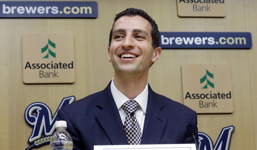 FILE - In this Sept. 21, 2015, file photo, David Stearns speaks during a news conference in Milwaukee. Nearly a week into his tenure with the Brewers, new general manager David Stearns is beginning to set a fresh tone for a franchise in transition. (AP Photo/Morry Gash, File)