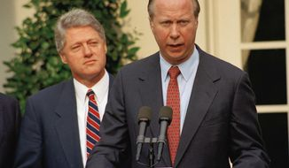 Travelgate. The firings of the career travel office was the very first crony capitalism scandal of the Clinton White House era.  President Clinton listens to David Gergen during a Rose Garden news conference Saturday, May 29, 1993. It was announced that Gergen will become one of Clinton's new top advisers. The White House hopes the hiring of Gergen, as veteran GOP hand, will help stem the damage from the two-week controversy following the White House travel office firings. (AP Photo/J. Scott Applewhite)