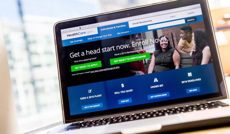 In this photo taken Oct. 6, 2015, the HealthCare.gov website, where people can buy health insurance, is displayed on a laptop screen in Washington. The Obama administration says it's strengthening privacy protections for consumers on the government's health insurance website ahead of a new sign-up season starting Nov. 1. In a blog Friday, HealthCare.gov CEO Kevin Counihan says the web page will have a new 'privacy manager' that lets consumers opt out of embedded connections to third-party advertising, analytics and social media sites. (AP Photo/Andrew Harnik)