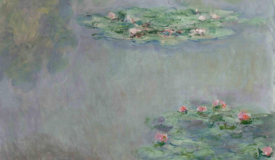 This photo provided by Sotheby's shows a 1908 painting, Water Lilies, by French Impressionist Claude Monet. The painting, from the William I. Koch collection, will be auctioned Nov. 5, 2015. (Sotheby's via AP)
