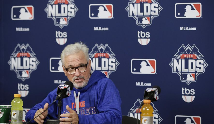 Chicago Cubs manager Joe Maddon responds to a question during a news conference Thursday, Oct. 8, 2015, in St. Louis. The Cubs are to face the St. Louis Cardinals in Game 1 of the National League Division Series on Friday. (AP Photo/Darron Cummings)