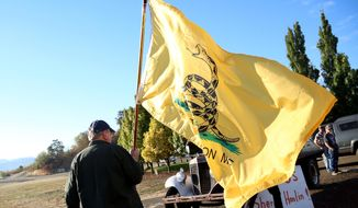 A man holds up the Gadsden flag as he waits outside of Roseburg Municipal Airport for President Barack Obama's arrival in Roseburg, Ore., Friday, Oct. 9, 2015. (AP Photo/Ryan Kang) ** FILE **
