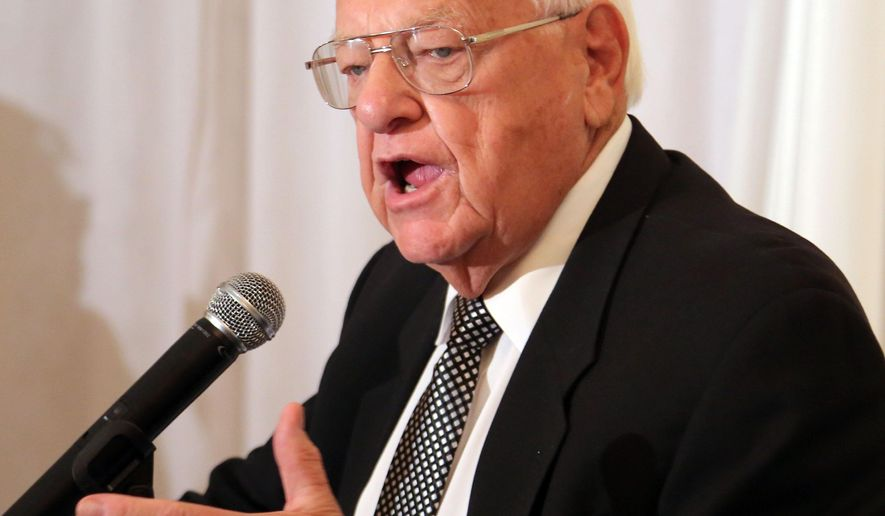"Former Gov. George Ryan speaks during the Coalition to Reduce Recidivism's 12th annual luncheon Friday, Oct. 9, 2015 in Waukegan, Ill.  Ryan is calling for legislation that would keep convicts from being labeled as felons for the remainder of their lives. He told attendees the ""felon"" tag is a deterrent to someone looking for a job. Ryan spent more than five years behind bars on corruption charges. (Steve Lundy/Daily Herald via AP)  MANDATORY CREDIT, MAGS OUT"