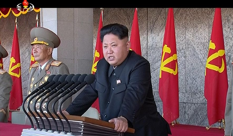 In this image made from video, North Korean leader Kim Jong Un delivers a speech during the ceremony to mark the 70th anniversary of the country's ruling party in Pyongyang, Saturday, Oct. 10, 2015. North Korean leader Kim Jong Un declared Saturday that his country was ready to stand up to any threat posed by the United States as he spoke at a lavish military parade to mark the 70th anniversary of the North's ruling party and trumpet his third-generation leadership. (KRT via AP Video) TV OUT, NORTH KOREA OUT