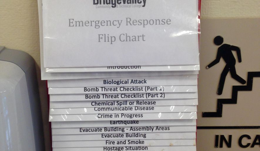 In this photo taken Friday, Oct. 9, 2015, a guide to responding to a campus emergency is displayed at BridgeValley Community and Technical College in Montgomery, W.Va. Two- and four-year college campuses across West Virginia are required to have emergency safety procedures in place, including a plan in case of an active shooter.  (AP Photo/John Raby)
