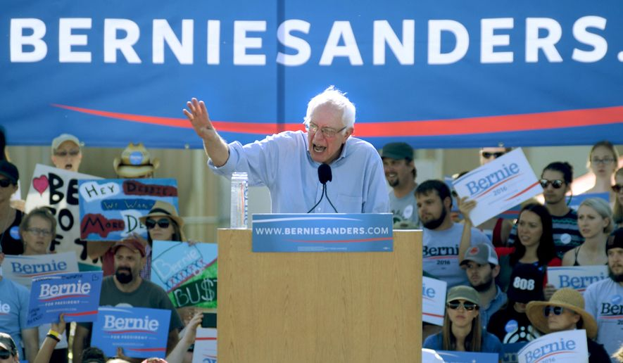 Bernie Sanders speaks at the University of Colorado campus in Boulder, Colo., on Saturday, Oct. 10, 2015. (Cliff Grassmick/Daily Camera via AP)
