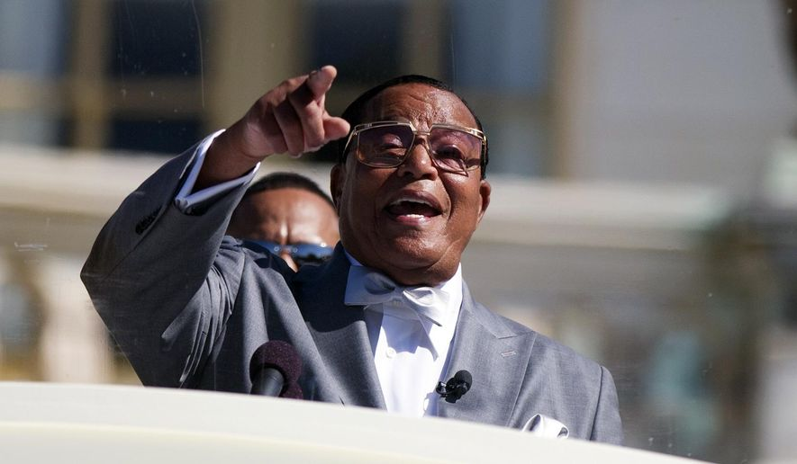 Minister Louis Farrakhan speaks during a rally to mark the 20th anniversary of the Million Man March, on Capitol Hill, on Saturday, Oct. 10, 2015, in Washington. (AP Photo/Evan Vucci) ** FILE **
