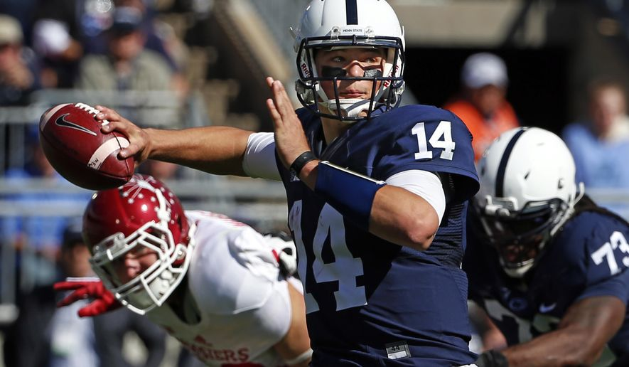 Penn State quarterback Christian Hackenberg (14) throws a pass during the first half of an NCAA college football game against Indiana in State College, Pa., Saturday, Oct. 10, 2015. (AP Photo/Gene J. Puskar)