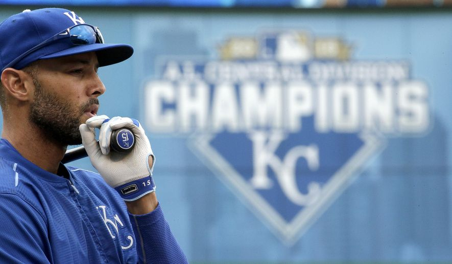 Kansas City Royals' Alex Rios waits to take batting practice Tuesday, Oct. 6, 2015, in Kansas City, Mo. The Royals face the winner of tonight's AL wildcard game Thursday in Kansas City. (AP Photo/Charlie Riedel)
