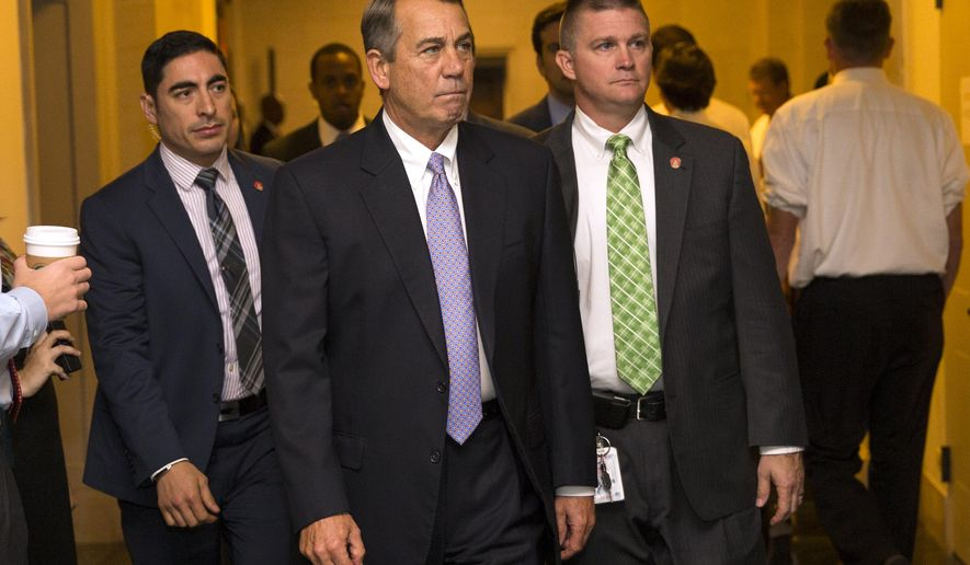 Outgoing House Speaker John Boehner of Ohio arrives for a meeting where Republicans will nominate candidates to replace him, Thursday, Oct. 8, 2015, on Capitol Hill in Washington.  After two tumultuous weeks that saw the current speaker announce his resignation and his heir apparent abruptly pull out of the running, House Republicans are in disarray as they confront a leadership vacuum. (AP Photo/Evan Vucci)