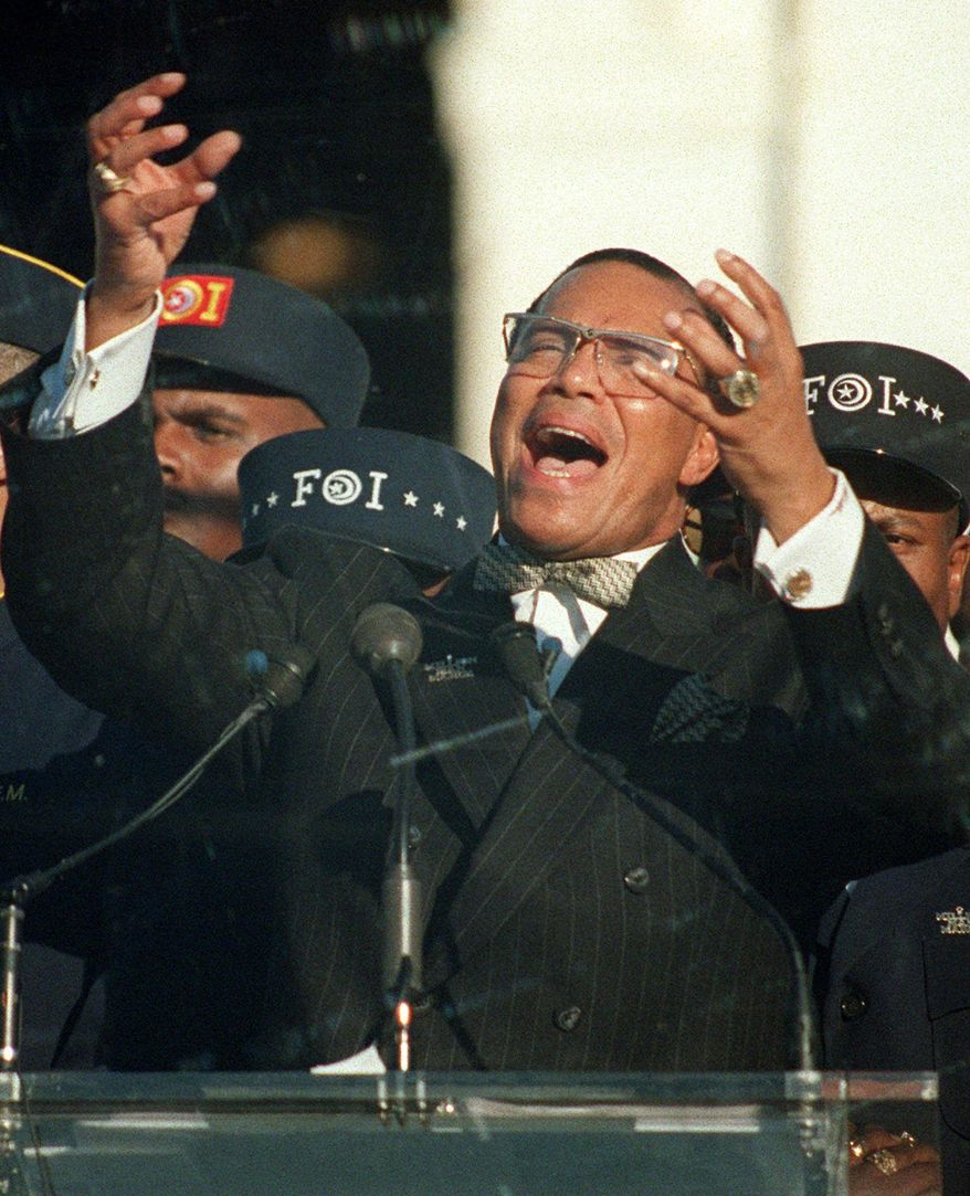 Nation of Islam leader Louis Farrakhan addresses the Million Man March from Capitol Hill in Washington, in this Monday, Oct. 16, 1995, file photo. (AP Photo/Doug Mills)