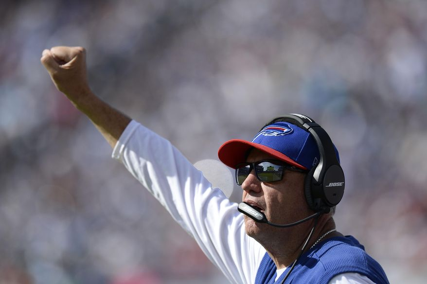 Buffalo Bills head coach Rex Ryan calls out from the sideline in the second half of an NFL football game against the Tennessee Titans Sunday, Oct. 11, 2015, in Nashville, Tenn. The Bills won 14-13. (AP Photo/Mark Zaleski)
