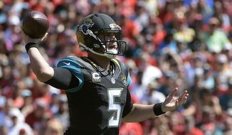Jacksonville Jaguars quarterback Blake Bortles (5) throws a pass against the Tampa Bay Buccaneers during the first quarter of an NFL football game Sunday, Oct. 11, 2015, in Tampa, Fla. (AP Photo/Phelan M. Ebenhack)