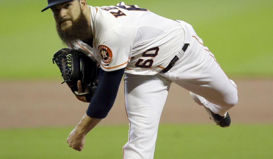 Houston Astros starting pitcher Dallas Keuchel throws against the Kansas City Royals during the first inning in Game 3 of baseball's American League Division Series Sunday, Oct. 11, 2015, in Houston. (AP Photo/David J. Phillip)