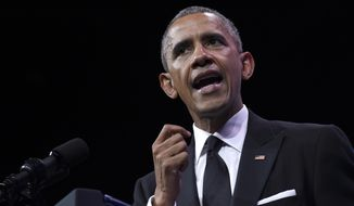 President Obama speaks at the Congressional Hispanic Caucus Institute's (CHCI) 38th Anniversary awards gala in Washington on Oct. 8, 2015. (Associated Press) **FILE**