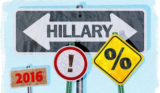 Hillary Road Signs Illustration by Greg Groesch/The Washington Times