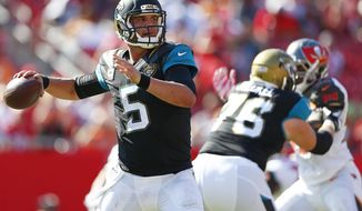 Jacksonville Jaguars quarterback Blake Bortles (5) throws during the second half of an NFL football game against the Tampa Bay Buccaneers, Sunday, Oct. 11, 2015 in Tampa, Fla. (Corey Perrine/Naples Daily News via AP)  FORT MYERS OUT; MANDATORY CREDIT