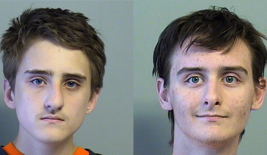 FILE - This combination of July 2015 file photos provided by the Tulsa County, Oklahoma, Jail shows Michael Bever, left, and his brother Robert Beaver. The Bevers are charged with first-degree murder in the July deaths of their family at their Broken Arrow home. They've pleaded not guilty.  (Tulsa County Sheriff's Office via AP, File)