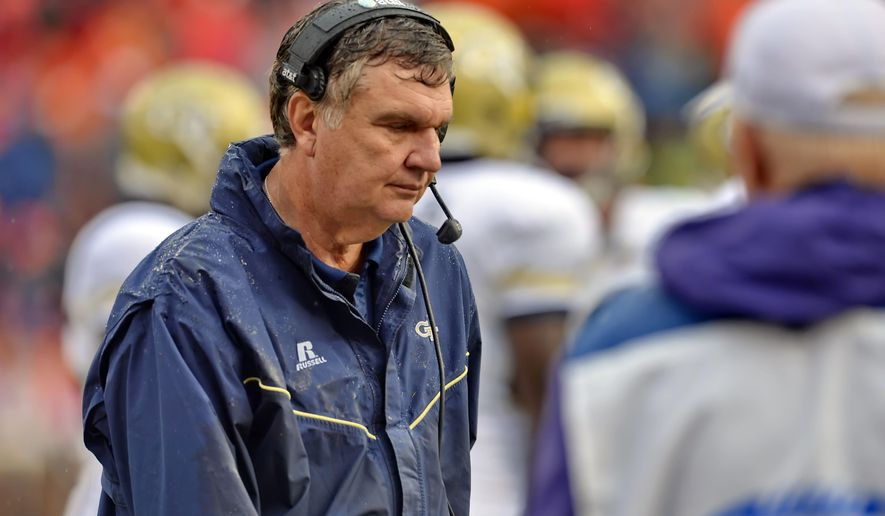 Georgia Tech head coach Paul Johnson walks the sidelines during the second half of an NCAA college football game against Clemson, Saturday, Oct. 10, 2015,  in Clemson, S.C. Clemson won 43-24. (AP Photo/Richard Shiro)