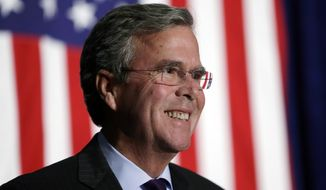 In this Oct. 6, 2015, file photo, Republican presidential candidate former Florida Gov. Jeb Bush reacts to a supporter during the Scott County Republican Party's Ronald Reagan Dinner in Davenport, Iowa. Bush is proposing to repeal and replace President Barack Obama's signature federal health care law. The former Florida governor released a two-page plan Oct. 12 to increase tax credits for individuals to buy coverage and give more power to states to regulate health insurance. (AP Photo/Charlie Neibergall, File)