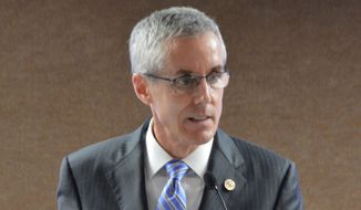 Peter Neffenger, administrator of the Transportation Security Administration, speaks during luncheon Monday, Oct. 12, 2015, in Sioux Falls, S.D. Neffenger said the agency needs to refocus on its primary mission of security. (AP Photo/Dirk Lammers) ** FILE **