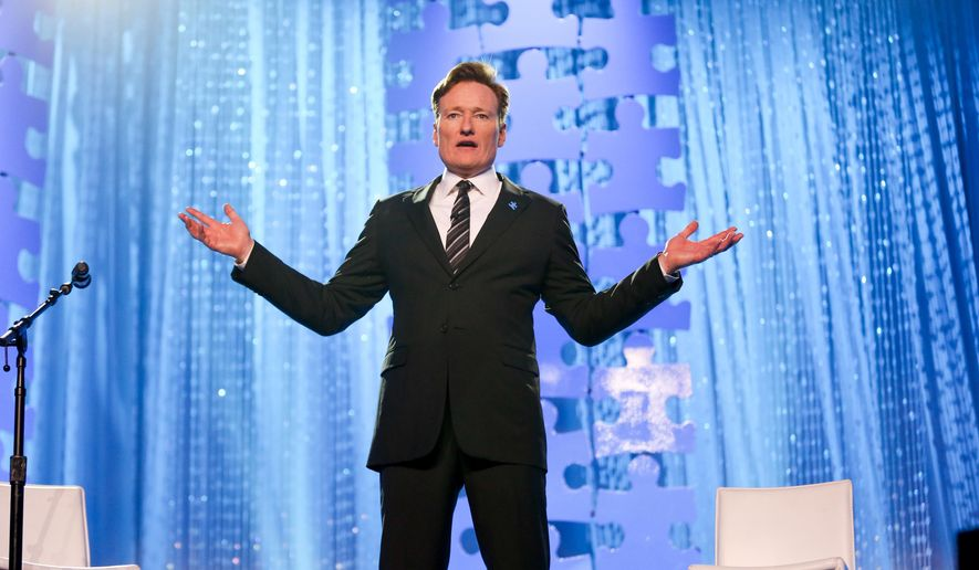 FILE - In this Oct. 8, 2015 file photo, Conan O'Brien speaks at the Autism Speaks to LA Celebrity Chef Gala in Santa Monica, Calif.  TBS said Monday, Oct. 12, that O'Brien will host his show from Armenia. The episode will air on Nov. 10. (Photo by Rich Fury/Invision/AP, File)