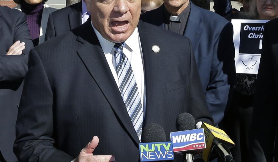 Senate President Steve Sweeney, D-West Deptford, N.J., addresses a gathering as he announces a new date in the effort to override Gov. Chris Christie's veto of a bill requiring law enforcement agencies to be notified when a prospective gun buyer applies to expunge mental health records, Monday, Oct. 12, 2015, in Princeton, N.J. If the override succeeds, it would be a first for the Democratic-led Legislature, which has failed throughout Christie's two terms. (AP Photo/Mel Evans)