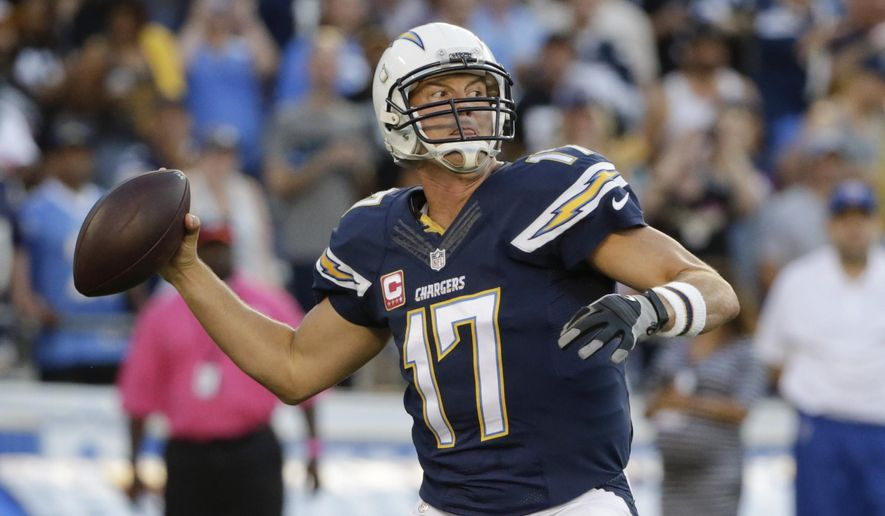 San Diego Chargers quarterback Philip Rivers throws a pass against the Pittsburgh Steelers during the first half of an NFL football game Monday, Oct. 12, 2015, in San Diego. (AP Photo/Lenny Ignelzi)