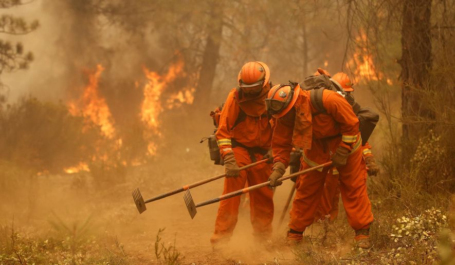 FILE - In this Sept. 12, 2015, file photo, a California Department of Corrections and Rehabilitation inmate work crew builds a containment line ahead of flames from a fire near Sheep Ranch, Calif. California officials are considering allowing inmates with violent backgrounds to work outside prison walls fighting wildfires. Currently only minimum-security inmates with no history of violent crimes can participate. (AP Photo/Rich Pedroncelli, File)