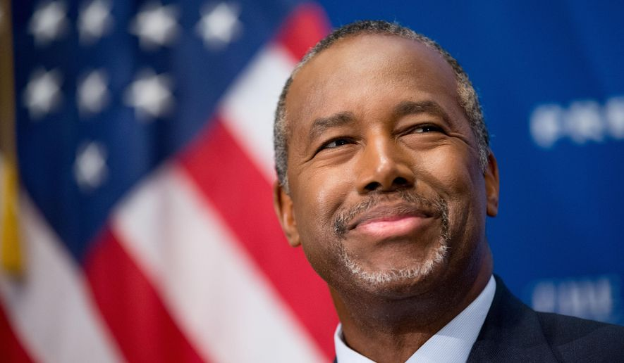 In this Oct. 9, 2015 photo, Republican presidential candidate Dr. Ben Carson speaks at a luncheon at the National Press Club in Washington. In the past week, Republican presidential candidate Ben Carson has suggested the Holocaust wouldn't have happened if Jews in Europe were better armed, said gun control is a bigger tragedy than a bullet-riddled body and that the best way to confront a mass shooter is to rush the gunman. (AP Photo/Andrew Harnik)