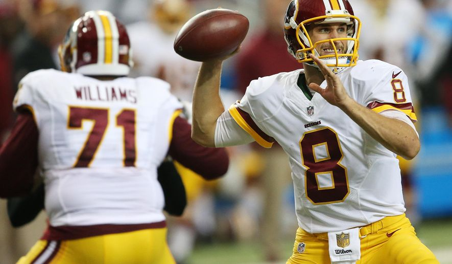Washington Redskins quarterback Kirk Cousins (8) works in the pocket against the Atlanta Falcons during the first half of an NFL football game, Sunday, Oct. 11, 2015, in Atlanta. (AP Photo/John Bazemore)