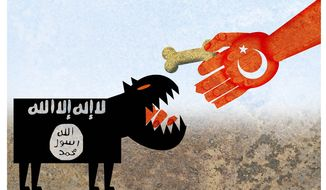 Illustration on the unintended effects of Turkey's laissez faire approach to IS by Alexander Hunter/The Washington Times