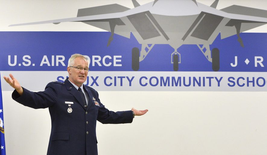 Lt. Col. Larry Brockshus, JROTC instructor, speaks during an event Monday, Oct. 12, 2015, at the Sioux City Community School's Career Academy's Air Force Junior Reserve Officer Training Corps classroom in downtown Sioux City, Iowa. The school district announced in December that it was one of two districts picked nationwide by the Air Force to add the JROTC program for the 2015-16 school year. The program is a partnership between the school district, the city of Sioux City, and other organizations. (Tim Hynds /Sioux City Journal via AP) MANDATORY CREDIT