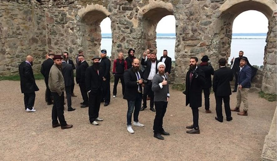 """The """"Bearded Villains"""" Swedish chapter during a photo shoot at a castle ruin. (Image: Facebook)"""