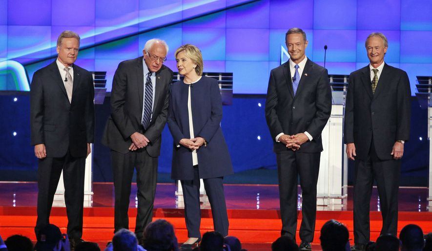 Democratic presidential candidates (from left) former Sen. Jim Webb of Virginia, Sen. Bernie Sanders of Vermont, former Secretary of State Hillary Rodham Clinton, former Maryland Gov. Martin O'Malley and former Rhode Island Gov. Lincoln Chafee take the stage before the CNN Democratic presidential debate Tuesday in Las Vegas. (Associated Press)