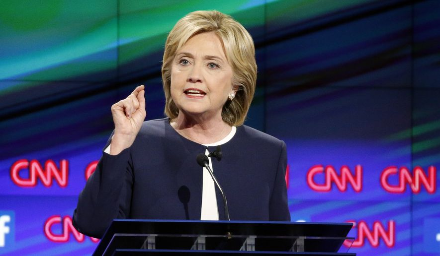 Hillary Rodham Clinton kicked off the debate by answering a question from moderator Anderson Cooper saying her greatest weakness is being perceived as a panderer, saying she keeps her principles while changing her specific stances. (Associated Press)