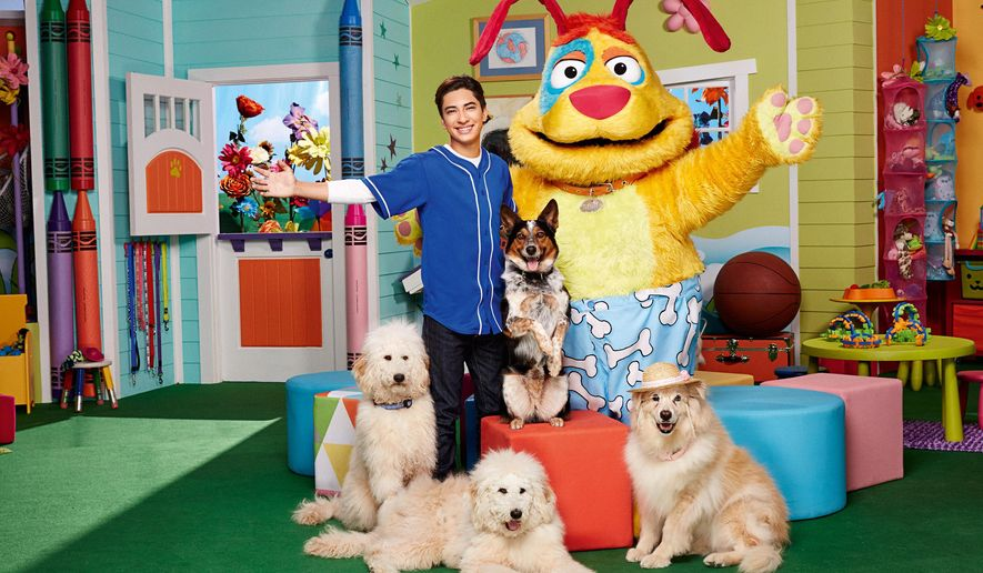 """This photo provided by Nickelodeon shows Calvin Millan, left, as Calvin, Stuff, and clockwise at top right, Zippy, Grandma, Giggles and Wiggles in season one of """"Mutt & Stuff,"""" on Nickelodeon.  H.R. Pufnstuf, the title character of the 1969-71 children's series will appear on an episode of Nickelodeon's new preschool series """"Mutt & Stuff,"""" the cable channel said Tuesday, Oct. 13, 2015.(Robert Voets/Nickelodeon via AP)"""