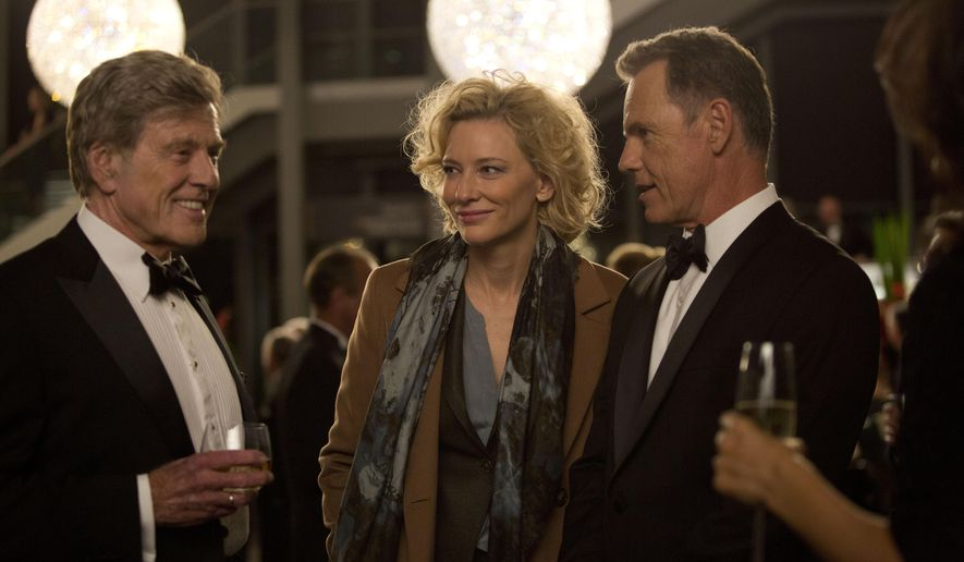 "In this image released by Sony Pictures Classics, Robert Redford portrays Dan Rather, from left, Cate Blanchett portrays Mary Mapes and Bruce Greenwood portrays Andrew Heyward in a scene from, ""Truth."" (Lisa Tomasetti /Sony Pictures Classics via AP)"
