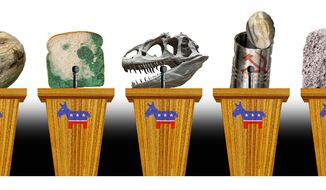 Illustration on the stale content of the Democrat candidates by Alexander Hunter/The Washington Times