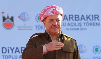 Kurdistan Regional President Masoud Barzani. (Associated Press) ** FILE **