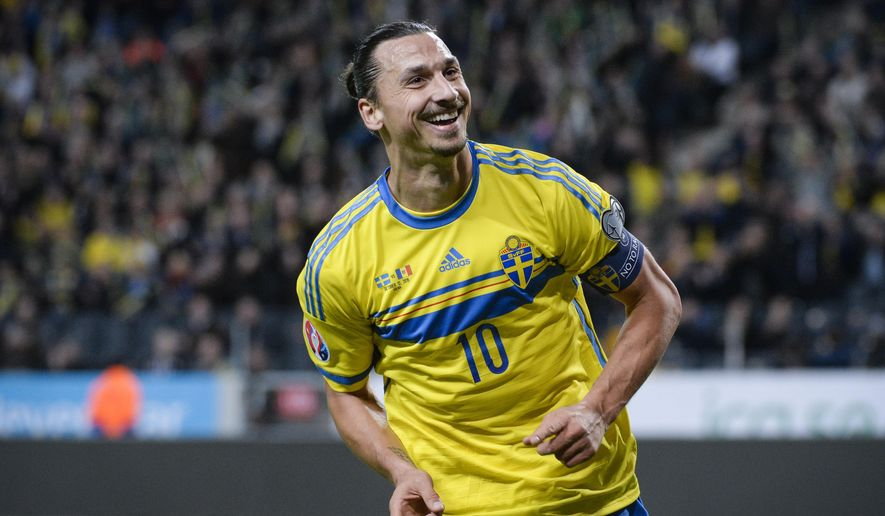 Sweden's Zlatan Ibrahimovic celebrates scoring the opening goal during the UEFA Euro 2016 group G qualifying soccer match between Sweden and Moldova at Friends Arena in Stockholm, Sweden, on Monday Oct. 12, 2015. (Fredrik Sandberg / TT via AP) SWEDEN OUT