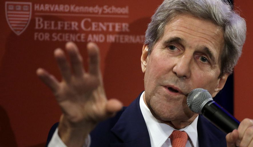 U.S. Secretary of State John Kerry participates in a forum at the Harvard Kennedy School Belfer Center for Science and International Affairs, Tuesday, Oct. 13, 2015, in Cambridge, Mass. (AP Photo/Steven Senne)